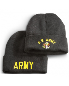 2 Military-Style Army Embroidered Knit Caps
