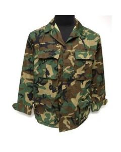 B.D.U. Jacket Woodland ERDL Leaf Pattern Camo (100% Cotton Ripstop)