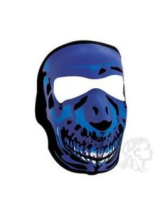 Blue Chrome Skull Neoprene Face Mask