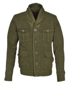 Schott Men's Zip Front Military Style Sweater Jacket