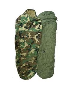 6 Piece Extreme Cold Weather Sleeping Bag System Woodland Camo