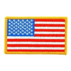Iron On USA Flag Path with Gold Border