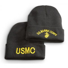 2 Pack of Military-Style USMC Embroidered Knit Caps