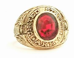 Vintage 18KT Gold Electroplated United States Army Ring Red Stone