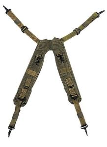 Military Style OD Nylon H-Suspenders
