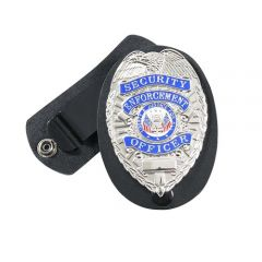 Leather Clip-on Badge Holder with Swivel Snap
