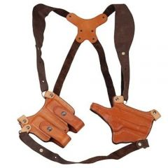 Montezuma® Horizontal Leather Shoulder Holster with Mag Pouch Model