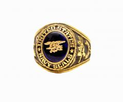 United States Navy Seals Branch of Service 18k Gold Ring