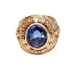 Vintage 18KT Gold Electroplated United States Navy Ring Blue Stone